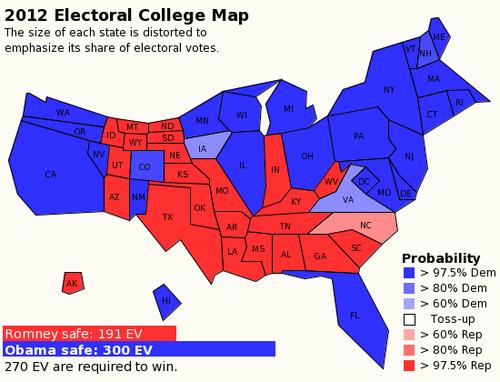 EV probability map 6 August 2012